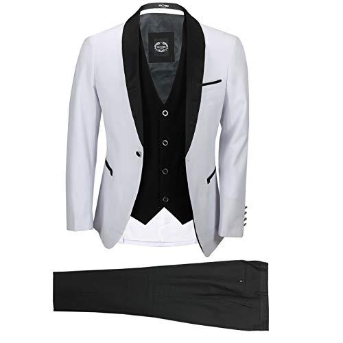 Hombre Blanco Negro De 3 Piezas Smoking Traje De Baile De Boda De Los Novios Desgaste del Partido Retro A Medida [TUX-SUIT-3039-9-WHITE-50UK]