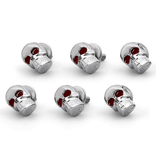 Artudatech 6 tornillos universales de 5 mm para parabrisas, con forma de calavera, tornillos para marco de matrícula para motocicleta
