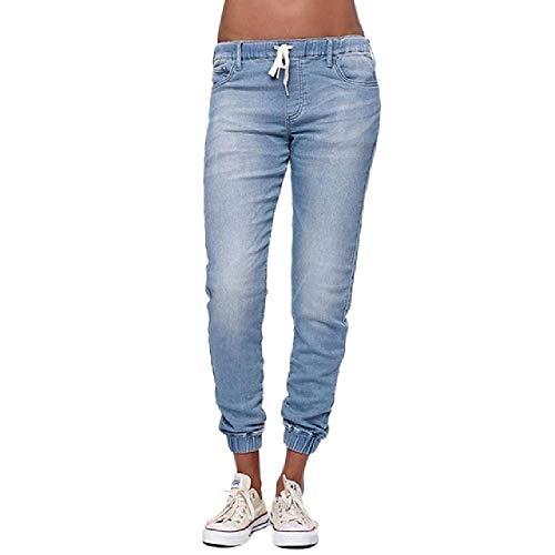 Vrouwen Casual Jogger Broek Trekkoord Elastische Taille Jeans Solid Dames Denim Broek Slim - blauw - S