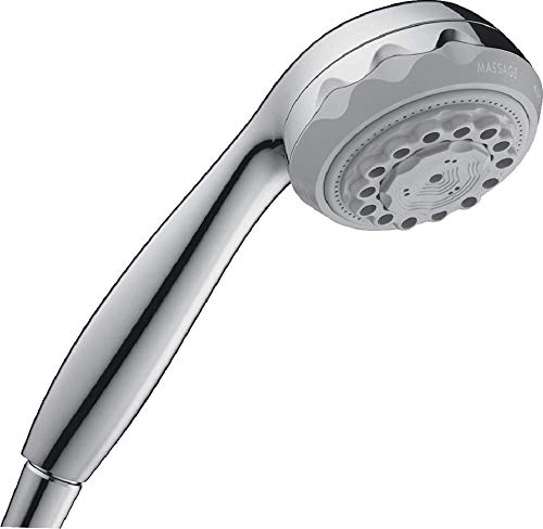 hansgrohe Clubmaster Easy Install 4-inch Handheld Shower Head Modern 3 Full, Soft spray, Pulsating Massage 28525001,Chrome,Small