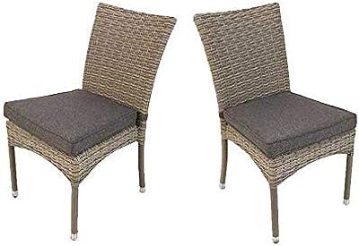 Pack 2 sillas para jardín apilables, Tamaño: 45x55x87 cm, Aluminio ...