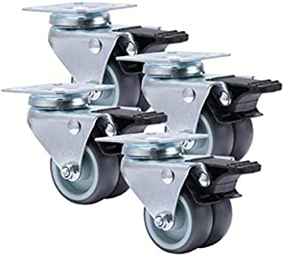 Wivarra 4 Pcs Casters Wheels 2 Inch Heavy Duty Swivel Soft Rubber Roller with Brake for Platform Trolley Furniture Wheels