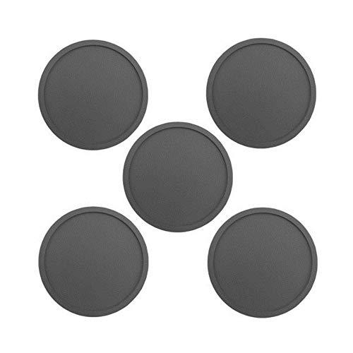 SEOLQX Juego de posavasos de silicona de color de 1/5/8 unidades, reutilizables, resistentes al calor, redondos, para vino, cerveza, cocina, posavasos, 5 unidades, color gris, nuevo y redondo