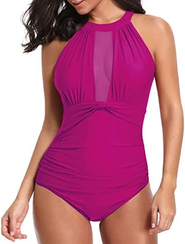 Tempt Me Women One Piece Swimsuit Pink High Neck Mesh Ruched Swimwear XL product image