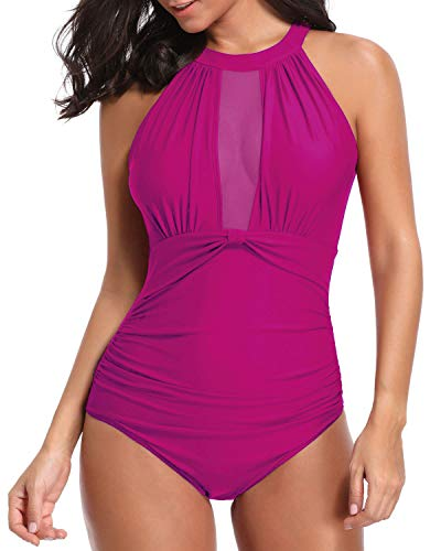 Tempt Me Women One Piece Swimsuit Pink High Neck Mesh Ruched Swimwear S