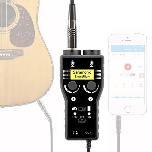 Saramonic Professionele 2-kanaals XLR / 3,5 mm microfoon audio mixer met fantoomspanning preamp en gitaarinterface voor iOS apparaat iPhone iPad iPod, DSLR camera camcorder en Android smartphones