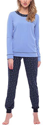 Merry Style Pijama Conjunto Camiseta y Pantalones Ropa de Cama Mujer MS10-236 (Azul/Estrellas, L)