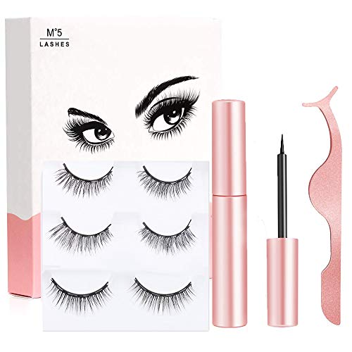 Magnetic Eyelashes - 3D Magnetic Eyeliner and Eyelashes Kit, 3 Pair Reusable Natural Look Magnetic Eyeliner and Lashes, with Applicator - no Glue Needed