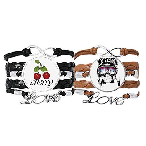 Bestchong Graffiti Street Northern - Juego de pulsera para gafas de esquí, correa de mano de cuero, cuerda de cereza, pulsera de amor