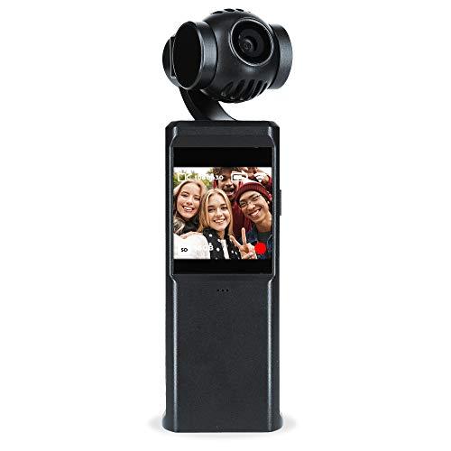 Rollei Steady Butler Pocket I 3 Achsen Gimbal Stabilizer mit Kamera I 4K30FPS I Zeitraffer, Slow-Motion I Verwendbar mit Smartphone (Android & iPhone)