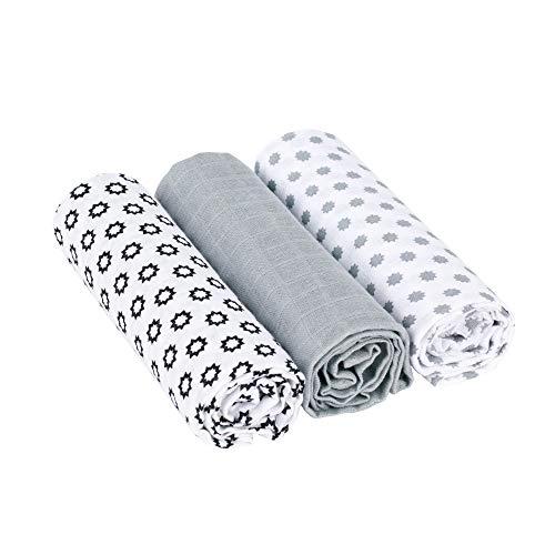 LÄSSIG Baby Puckdecke Spuckdecke Pucktuch Mulltuch weich kuschelig Baumwolle vorgewaschen/Swaddle & Burp Blanket Little Chums schwarz weiß