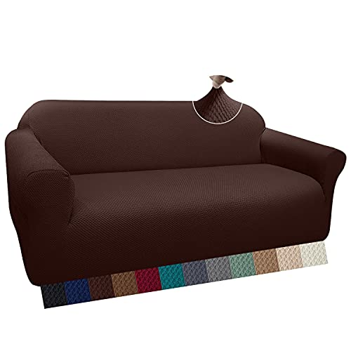 Granbest Funda de Sofá Gruesa Fundas Sofá Elástica Funda para sofá Antideslizante, Protector de Muebles (Chocolate, 3 Plaza)