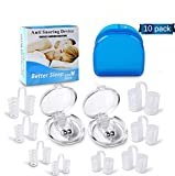 Clipple Silicone Magnetic Anti Snore Transparent Silicone Stop Snoring Device Silicone Nose Clip Tools Professional Relieve Snore Mini Comfortable Sleep Sleeping Aid for Men Women incl. 4 Sizes(8+2PCS