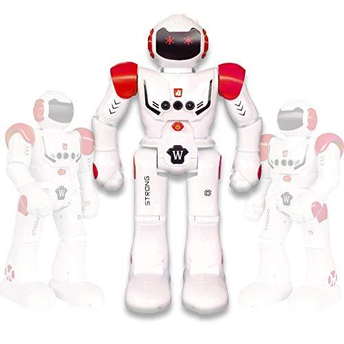 Vindany Intelligente RC Roboter Spielzeug Weihnachts-Geburtstagsgeschenk Fernbedienung Geste Steuerung Roboter Kit Programmierung, Singen und Tanzen wiederaufladbare Roboter für Kinder (Rot)
