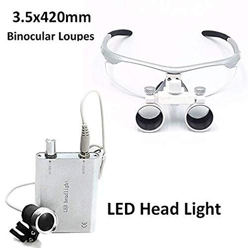 DENEST 3.5x 420mm Dental Surgical Binokularlupen und Head Light Lamp