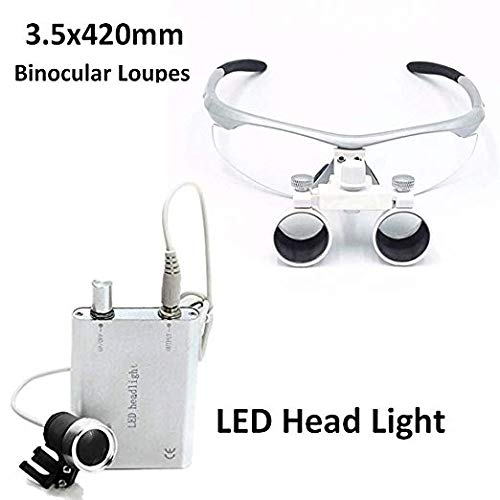 DENEST 3.5x 420mm Dental Surgical Binokularlupen und Head Light Lamp