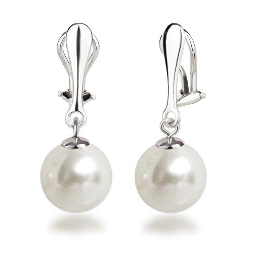 Schöner-SD Orecchini a clip e ciondoli con perle rotonde, in argento 925, argento, colore: 12mm-weiß, cod. OC-OH-Ku12-ww