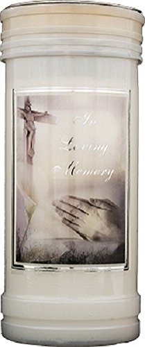 In Loving Memory candle 72 hour burn Prayer Saint Catholic 15cm White