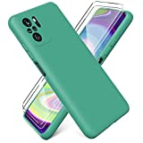 Ikziwreo - Funda para Xiaomi Redmi Note 10 4G/ Note 10S + [2 Pack] Protector Pantalla, Carcasa de Silicona Líquida Gel Ultra Suave Funda con tapete de Microfibra Anti-Rasguño - Verde Oscuro