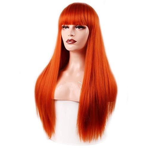 ASDAD Cheveux Synthétiques Longue Ligne Droite 60CM 300G Noir Blonde Perruques Rousse pour Femmes Extensions De Cheveux Haute Température Fibre,F