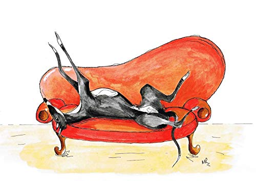 Greyhound Art Whippet Lurcher Dog Painting Artwork Print Birthday Gift - [A4 Mounted Print with 11 x 14' Mount] - 'Retired to The Sofa' - A4,A5,A6 Sizes