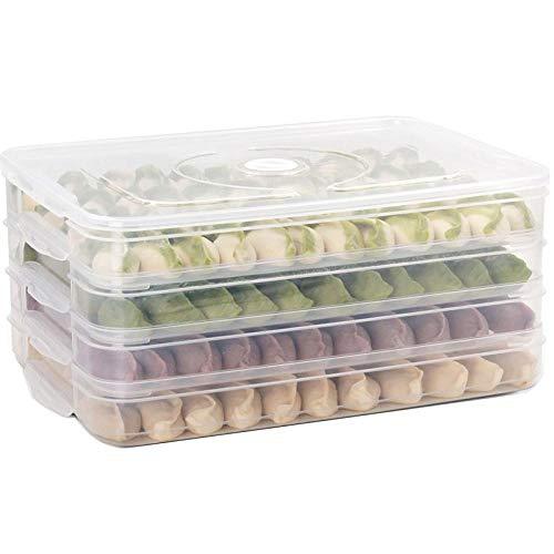Ningvong Frischhaltedose für den Haushalt Aufbewahrung im Kühlschrank Aufbewahrungsbox für Knödel@Weiße 4-Lagen-1-Hülle