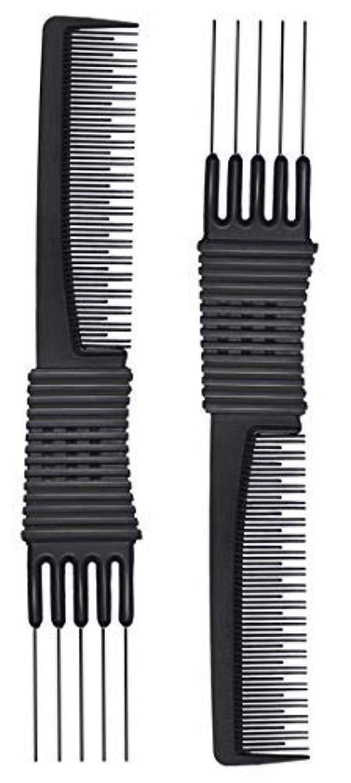 象買い物に行く汚物2pcs Black Carbon Lift Teasing Combs with Metal Prong, Salon Teasing Lifting Fluffing Comb with 5 Stainless Steel Pins [並行輸入品]
