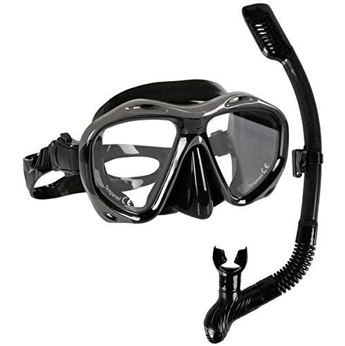 Big Shark Snorkel Set Anti-buée en Verre trempé Snorkel Masque de plongée en apnée, Natation et plongée sous-Marine, Anti Fuite Sec Top Breath Snorkel Set Tube (Color : Black)