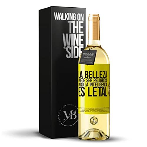 «La belleza puede ser peligrosa pero la inteligencia es letal» Mensaje en una Botella. Vino Blanco Premium Verdejo Joven. Etiqueta Amarilla PERSONALIZABLE.