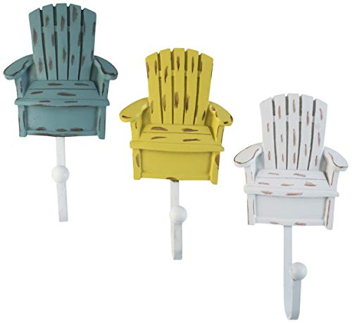 Decorative Vintage Resin Chair Wall Coat Hooks in White, Teal Green and Yellow Colors (Set of 3)