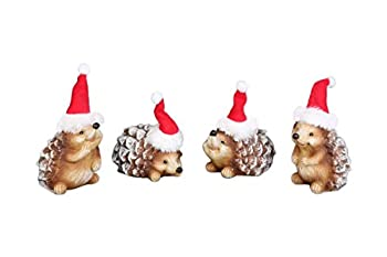 Transpac Imports Inc Small Pinecone Back Hedgehogs with Santa Hats 3.5 x 2.5 Resin Christmas Figurine Set of 4