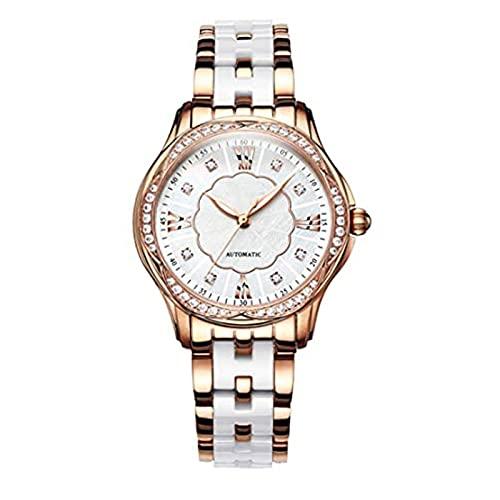 Yokbeer Relojes para Mujer Número Mecánica Automática de Fácil Lectura Cerámica de Acero Inoxidable Blanco Reloj de Pulsera Clásico Impermeable para Mujer (Color : A)