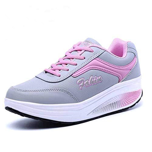 Zapatillas de Deporte para Mujer Zapatos de tonificación con Plataforma con Cordones de Punta Redonda Zapatillas de Deporte oscuras Transpirables para Adelgazar de Color Mixto