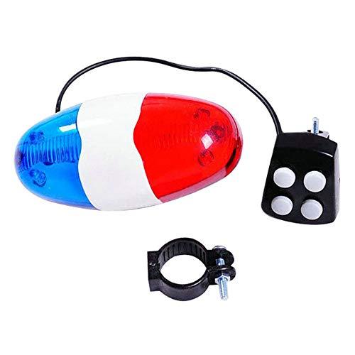 Dastrues Bicicletta 6 LED Lampeggiante 4 Suoni Polizia Sirena Tromba Horn Bell Bike Rear Light