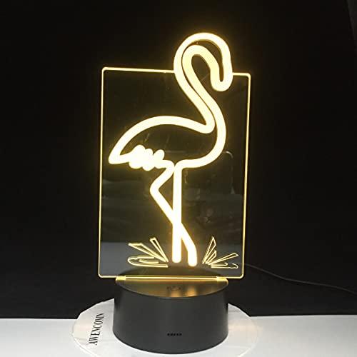 Luz De Noche Led 3D Flamencos Interruptor Táctil 7 Cambio De Color Escritorio De Animales Lámpara Acrílica 3D Lámpara De Ambiente Interior Regalo Para Niños