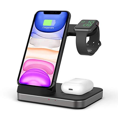 Boaraino Cargador Inalámbrico, 3 en 1 Soporte de Carga para Apple Watch y AirPods, Base de Carga Rápida de 7.5W para iPhone 12/12 Pro/12Pro Max/12Mini/11/X/8, cargador de inducción de 10W para Samsung