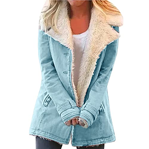 Mimacoo Winter Coat for Womens, Solid Color Fleece Jackets Long Sleeve Shirts Blue