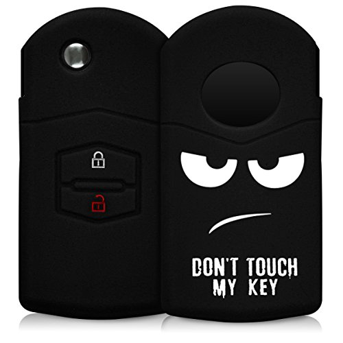 kwmobile Autoschlüssel Hülle kompatibel mit Mazda 2-Tasten Autoschlüssel - Silikon Schutzhülle Schlüsselhülle Cover Don't Touch My Key Weiß Schwarz