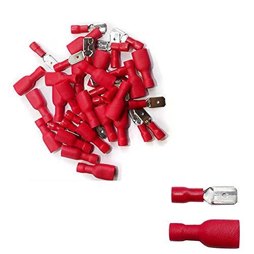 IIOOII - Set di 100 terminali elettrici di connessione, corrugati e isolanti, 50 maschi e 50 femmine, colore rosso