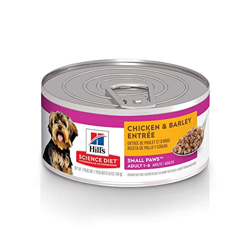 Hill's Science Diet Wet Dog Food, Adult, Small Paws for Small Breeds, Chicken & Barley Recipe, 5.8 oz Cans, 24 Pack
