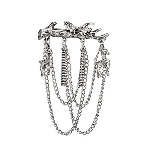 COLORFULTEA Vintage Tassels Branch Elk Horse Brooches Chains Elk Horse Pins Christmas Leaf Tassel Collar Badge Men Jewelry Gift