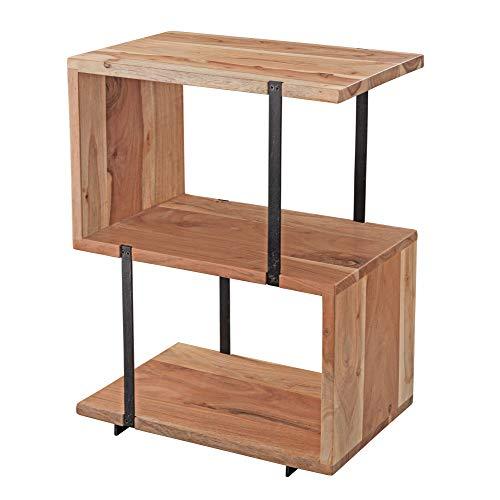 WOHNLING bijzettafel S-vorm 45 x 60 x 30 cm acacia metaal tafeltje woonkamer industrieel | houten tafel met metalen poten | decoratieve tafel hout