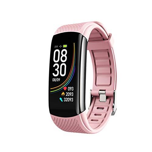 GZA Temperatura Smart Band Women Men Smart Pulsera Fitness Tracker para Android iOS SmartBand Top Luxury Muñequera Smart Muñequera Banda De Muñeca (Color : C6T Pink)