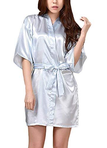 Damas Satin Kimono Camisón Noche De Camisón Especial Estilo Shea Cálido Baño Corto Bata De Seda De Los Hombres Bata (Color : Hellblau, Size : S)