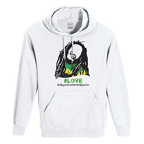 ROLY Felpa Bob Marley Bianca - Uomo - Donna Unisex - Fruit of The Loom