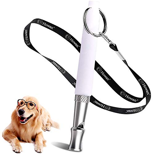 dog whistle with adjustable frequencies Howan Dog Training Whistle to Stop Barking, Professional Dogs Whistles- Trasonic Silent Dog Whistle Adjustable Frequencies, Dog Whistle for Recall Training Include Free Black Strap Lanyard (White)
