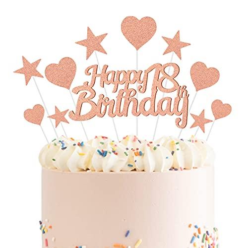 Humairc Decoración para tartas de 18 de oro rosa para niñas y niños, decoración para tartas de cumpleaños, decoración de tartas de oro rosa brillante