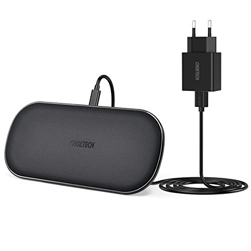 CHOETECH Cargador Inalámbrico Doble,con Cargador 3.0 Fast Wireless Charger Qi 5 Bobinas para Airpods 2,7.5W iPhone 11/11 Pro/11 Pro MAX/XR/XS MAX/XS/X/8/8 Plus,10W S10/S9/S8 y 5W Teléfonos Qi-Enabled
