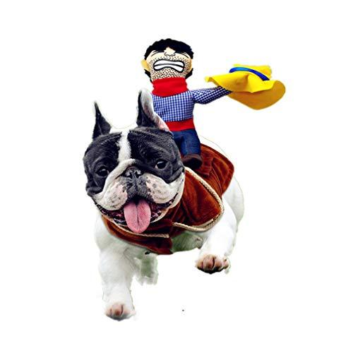 SEALEN Haustier Kostüm Hund Kleidung, Cowboy Rider Style Kostüm Ritter-Puppe mit Kleid und Hut, Lustige Haustier Kleidung für Halloween Partys Thanksgiving Day Weihnachtstag (XL)