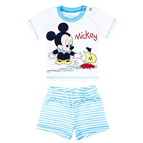 Disney jongens Mickey Mouse set, T-shirt, shorts, korte broek, lichtblauw